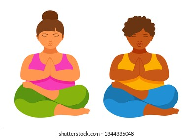 Woman sitting in Lotus position. People doing yoga, pilates. Relaxation activity sport, healthy, wellness lifestyle. Flexible legs. Vector cartoon flat style illustration isolated on white background.