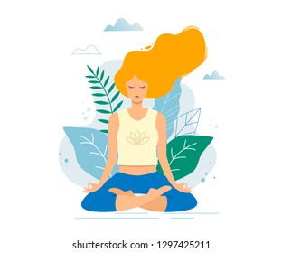 Woman sitting in lotus position practicing meditation. Yoga girl vector trendy illustration.