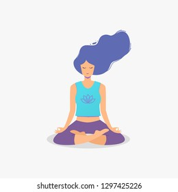 Woman sitting in lotus position practicing meditation. Yoga girl vector illustration.