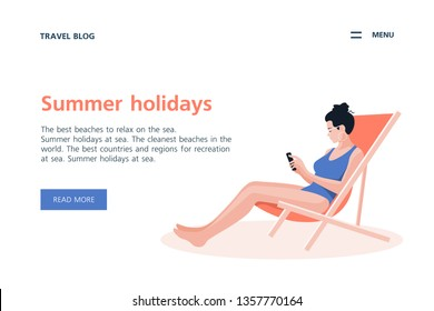 Woman sitting in a lounge chair on a white background. Summer holidays in the southern resorts. Vector flat illustration