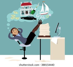 Woman sitting in an office putting her feet on a pile of papers and daydreaming about expensive things and money, EPS 8 vector illustration