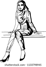 A woman is sitting on a bench in high-heeled shoes, leaning her elbows on the boards, looking into the distance, a scarf around neck, autumn, expectation, urban fashion, modern style, continuous line