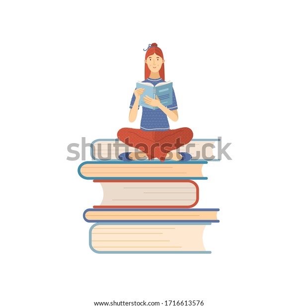 Woman sitting on books pile and reading a book. Student studing and preparing for exam. Flat vector illustration. Young girl is book lover and literature fan. E-learning or self education concept