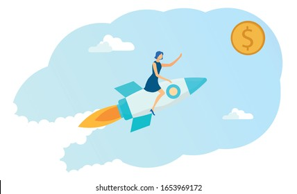 Woman Sitting on Business Start up Rocket and Trying to Get Coin Dollar Flat Cartoon Vector Illustration. Business Girl Flying in Sky. Career Boost, Working Success, Investments, Earning Money.