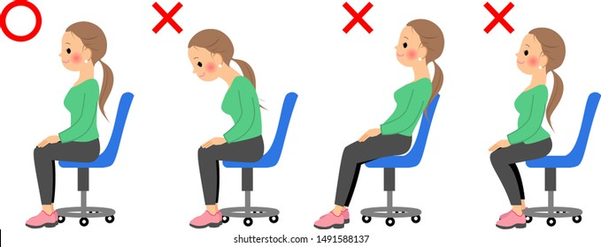 Woman sitting on chair with good posture bad posture