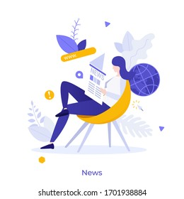 Woman sitting on chair and reading daily newspaper. Concept of printed mass media, international news, online or internet periodical publication. Modern flat colorful vector illustration.