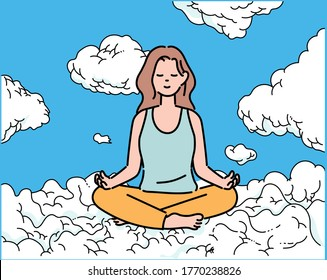A woman is sitting on a cloud and meditating. hand drawn style vector design illustrations.
