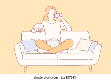 A woman is sitting on the couch and drinking a drink while watching TV. hand drawn style vector design illustrations.