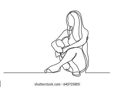 woman sitting on the floor - continuous line drawing