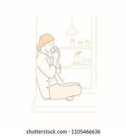 A woman sitting on the floor and drinking a warm tea. hand drawn style vector doodle design illustrations.