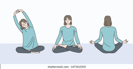 Woman sitting on the floor, stretching and meditating. hand drawn style vector design illustrations.