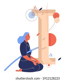 Woman sitting on knees with japanese long sward. Capital letter I for iaido training on background. Concept sport and healthy lifestyle illustration isolated on white