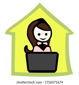 Woman sitting on a notebook in a green house as silhouette.