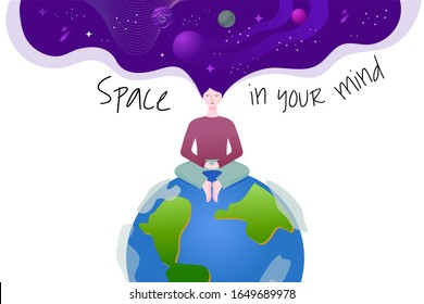 A woman is sitting on the planet Earth. Calm and meditation. Open mind. Space in the head. Vector illustration for your creative.