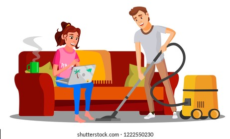 Woman Sitting On Sofa With Book, Man Vacuuming Floor Vector. Isolated Illustration