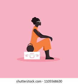 A woman is sitting on a suitcase. Expectation. Recreation and tourism. Journey. Vector Flat Illustration