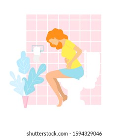 Woman is sitting on the toilet. urinary bladder problem or or sickness concept. stomach-ache woman