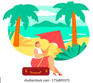 Woman sitting on travel suitcase, summer vacation on tropical beach, vector illustration. Female cartoon character dreaming of vacation, planning trip to seaside. Happy woman on tropical summer island