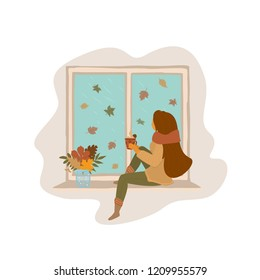 woman sitting on a window board at home watching falling autumn leaves outside vector illustration