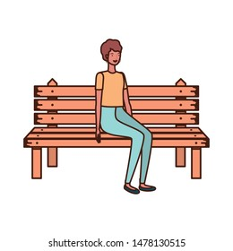 woman sitting in park chair on white background
