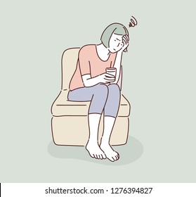 A woman is sitting resting with a headache. hand drawn style vector design illustrations.