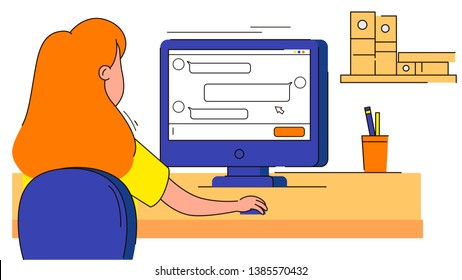 Woman sitting at the table chating at the computer on white background vector illustration