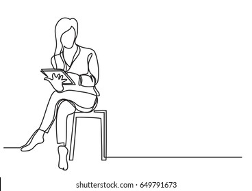 Woman sitting with tablet - single line drawing