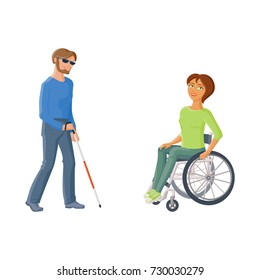 Woman sitting in wheelchair and blind man with walking cane, flat cartoon vector illustration isolated on white background. People with disabilities, handicaps - woman in wheelchair, blind man