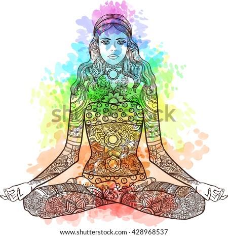 woman sitting yoga lotus pose tattoo stock vector royalty