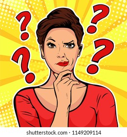 Woman skeptical facial expressions face with question marks upon hear head. Pop art retro vector illustration in comic style