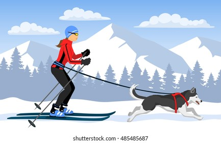 Woman skijoring with her dog . Winter Mountain landscape