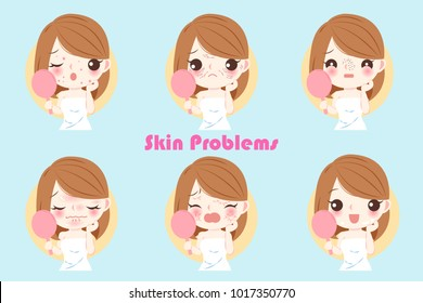 woman with skin problem on the blue background