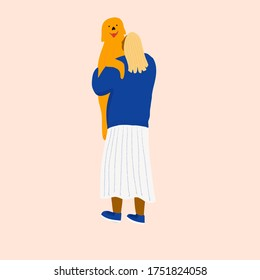 Woman in skirt and sweater volunteering in animal shelter with dog. Hugging with puppy. Vector illustration for pet rescue website or promotional materials.