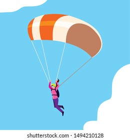 woman skydiver in air with parachute open