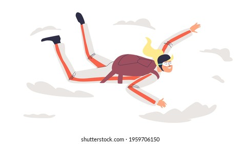 Woman skydiving with parachute. Skydivers female extreme jumping, free falling. Cartoon character girl paragliding. Extreme sport hobby concept. Flat vector illustration