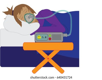 Woman Sleeping with the Help of a C.P.A.P. Machine (Continuous Positive Airway Pressure)
