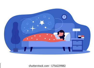 Woman sleeping in her bedroom. Peaceful person resting in bed with stars in cloud bubble. Flat vector illustration for dream, comfort, night, nighttime topics