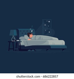 Woman sleeping in his bed. Flat vector illustration on woman sleeping peacefully at night in her bedroom with bedside table, nightstand lamp and alarm clock