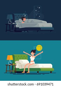 Woman sleeping at night and waking up in the morning. Flat vector illustration on lady resting in his bedroom and stretching sitting on his bed after getting up