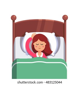 Woman sleeping peacefully smiling in her bed. Flat style modern vector illustration isolated on white background.