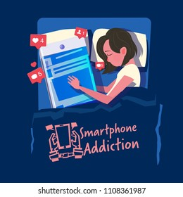 woman sleeps with her smartphone in the bed. smartphone or social media addiction concept - vector illustration
