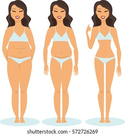 woman slimming stage progress Female before and after a diet