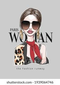 woman slogan with hand drawn fashion model illustration