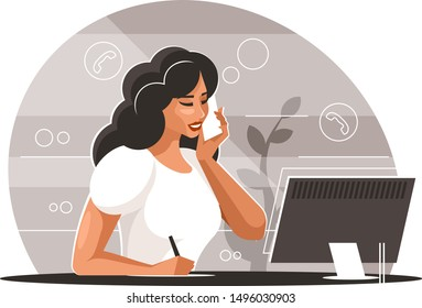 Woman with smartphone. Businesswoman sitting at a table with a display talking on the phone
