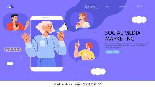 Woman in smartphone shouting in loud speaker. Influencer or social marketing banner, flyer, web page. Social media account promotion, audience or followers growth. People hold mobile phones and chat.