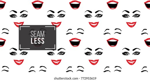 Woman smile and laugh vector emoticons, emoji, smiley icons, characters. Fashion illustrated women's emotional faces seamless pattern.