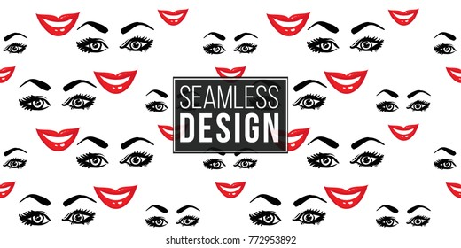 Woman smile vector emoticons, emoji, smiley icons, characters. Fashion illustrated women's emotional faces seamless pattern.