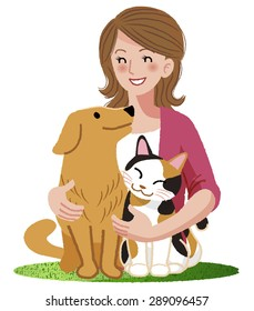 A woman smiling eyes at her dog and a cat,embracing  them.
