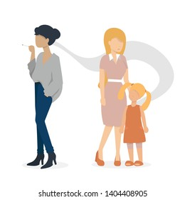 woman smoking a cigarette. mother and baby are standing nearly. flat vector illustration.