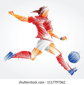 Woman soccer player kicking the ball made of colorful brushstrokes on light background